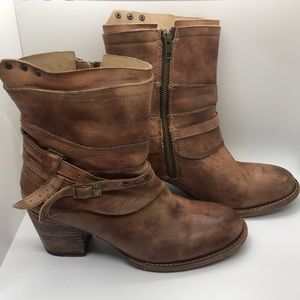 Bed Stu Rowdy teak leather zipper bootie SZ 10